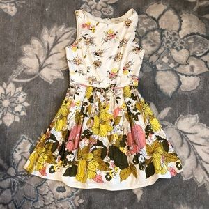Flirty floral mini dress with flared skirt